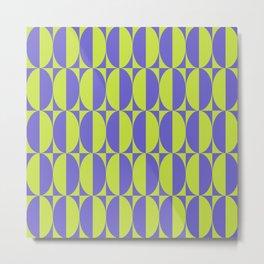 Mid Century Modern Geometric Half Oval Pattern 256 Chartreuse and Purple Metal Print