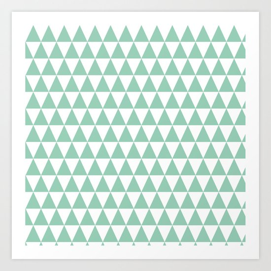 Green Mint and White Triangle Pattern Art Print