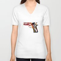 gun V-neck T-shirts featuring gun by mark ashkenazi