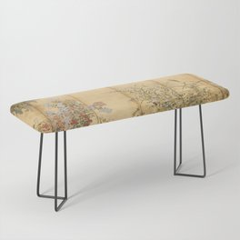 Japanese Edo Period Six-Panel Gold Leaf Screen - Spring and Autumn Flowers Bench
