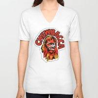 chewbacca V-neck T-shirts featuring Chewbacca by Popp Art