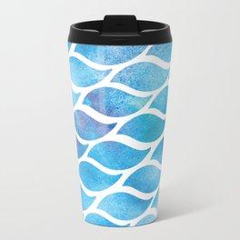 Abstract Watercolo Aqua Waves Travel Mug