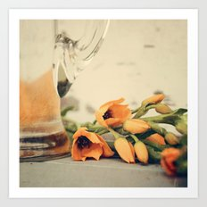 Tulips of orange Art Print