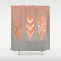 feathers Shower Curtains featuring Feathers by LebensART