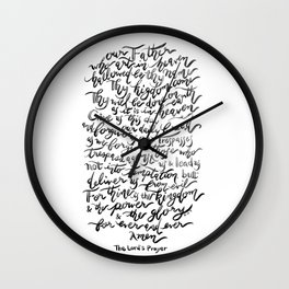 The Lord's Prayer - BW Wall Clock