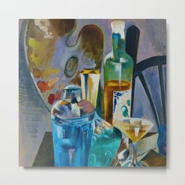 Absinthe, herbal Strega liqueur, lemons, blue Curacao aperitifs and the artist's table portrait painting by Preson Dickinson for kitchen and dinning room wall decor Metal Print