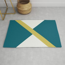 Off White, Dark Yellow and Tropical Dark Teal Inspired by Sherwin Williams 2020 Trending Color Oceanside SW6496 Minimal Solid Color Offset Geometric Shape Design Rug