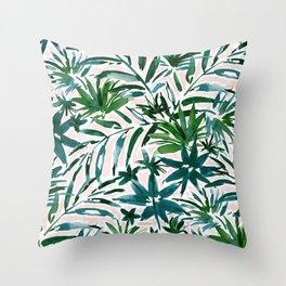 PLEASING PALMS Blush Tropical Leaves Throw Pillow