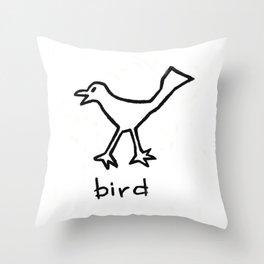 Bird - Black and White Throw Pillow