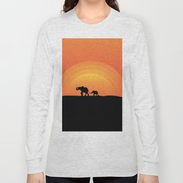 Night series - Walking elephants - Mother and Child Long Sleeve T-shirt