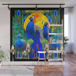 IRIS ART BLUE PEACOCKS & FULL GOLDEN MOON Wall Mural