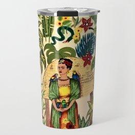 Frida's Garden, Casa Azul Lush Greenery Frida Kahlo Landscape Painting Travel Mug