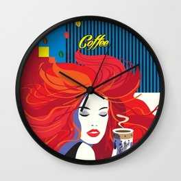 """""""Beautiful Fashion Woman and Coffee Cup"""" POP-ART poster, Retro, Design Wall Clock"""