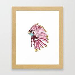 Indian head dress pink and red art print Framed Art Print