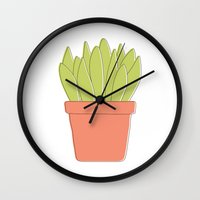 plant Wall Clocks featuring Plant by Yellow Chair Design