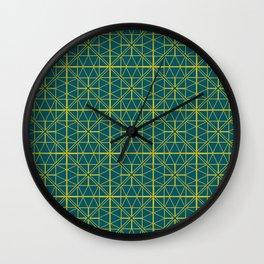 Emerald Green Triangles Pattern Wall Clock