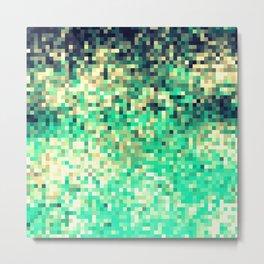 Green Teal Cream Pixels Metal Print