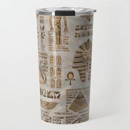 Egyptian hieroglyphs and deities -Vintage Gold Travel Mug