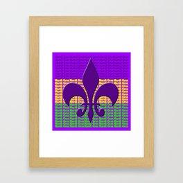 Mardi Gras  tri color with Fleur de lis Framed Art Print