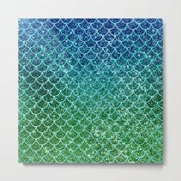 Mermaid Blue & Green Glitter Ombre Scales Metal Print
