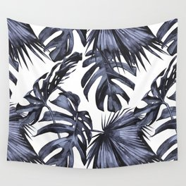 Classic Palm Leaves Navy Blue Wall Tapestry