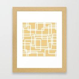 Retro Modern White Rectangles On Camel Framed Art Print