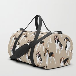 Treeing Walker Coonhounds on Tan Duffle Bag
