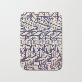 Hieroglyphic Tribal Chevron Doodle Bath Mat