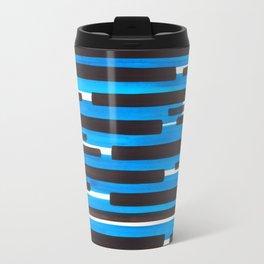 Cerulean Blue Primitive Stripes Mid Century Modern Minimalist Watercolor Gouache Painting Colorful S Travel Mug