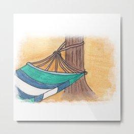 Just Swaying Away-Watercolor Hammock Design Metal Print