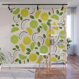 Lime Lemon Coconut Mint pattern Wall Mural