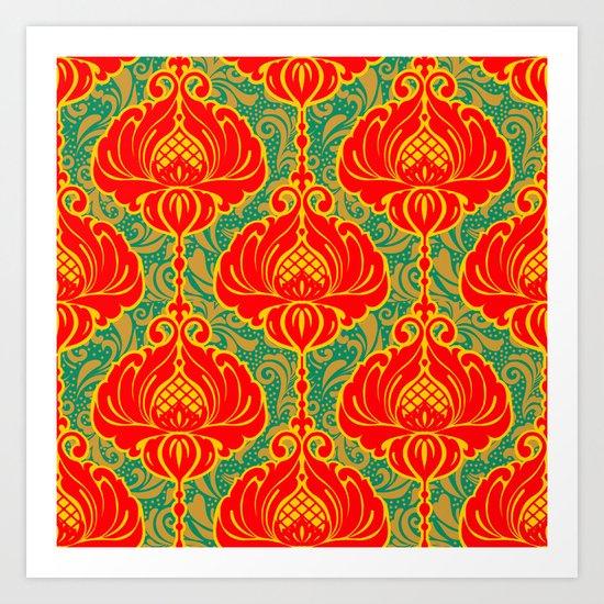 Bright vintage floral pattern Art Print