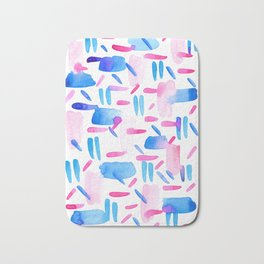 Blue Pink Diagonal Plaid Bath Mat