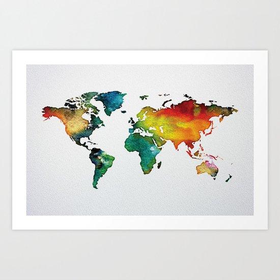 Multicolor World Map 04 Art Print
