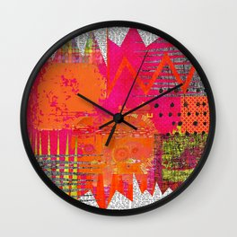 Hot Stuff Abstract Art Collage Wall Clock