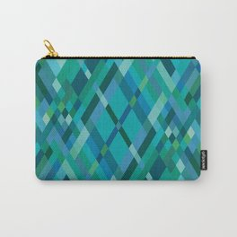 Blue Green Harlequin Pattern Carry-All Pouch