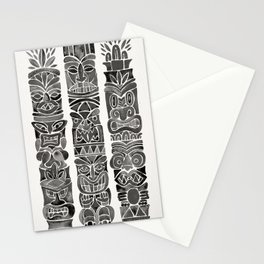 Tiki Totems – Black Stationery Cards