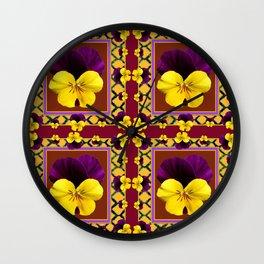 MAROON QUATREFOIL PURPLE & YELLOW SPRING PANSIES Wall Clock