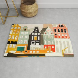 Amsterdam travel city shapes abstract Rug