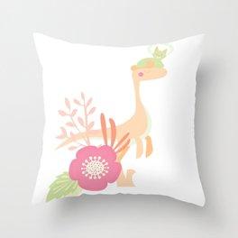 Purr-historic - Peach & Lime - v3 Throw Pillow