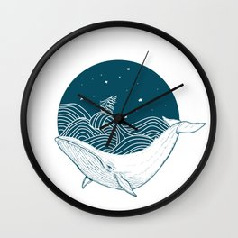 Minimalist Sperm Whale Art - Geometric Ocean Artwork - Boat Wall Clock