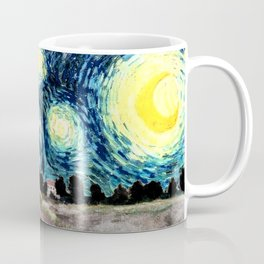 Monet's Poppies with Van Gogh's Starry Night Sky Coffee Mug