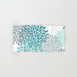Floral Pattern, Aqua, Teal, Turquoise and Gray Hand & Bath Towel