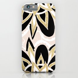Modern black gold pink abstract floral pattern iPhone Case
