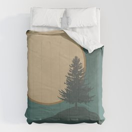 Pine Tree Island Lake: Full Moon Night Comforters