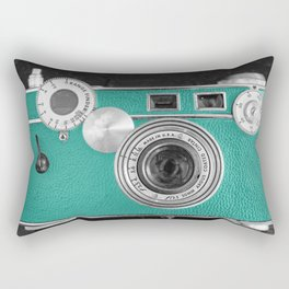 Teal retro vintage phone Rectangular Pillow