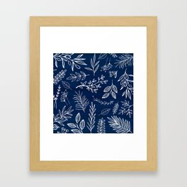 In The Wind - Blue and White Leaf Sketch Framed Art Print