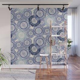 Indigo Blues Geometric Circles Wall Mural