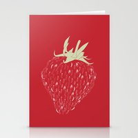 strawberry Stationery Cards featuring Strawberry by Julia Kisselmann