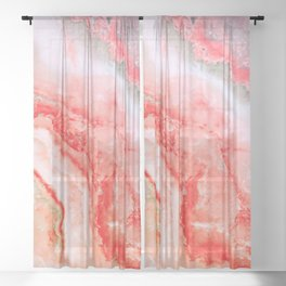 Luxury LIVING CORAL Agate Marble Geode Gem Sheer Curtain